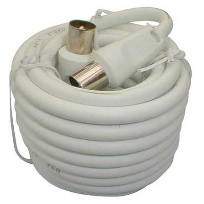 10m Coaxial Fly Lead Plug to Plug White