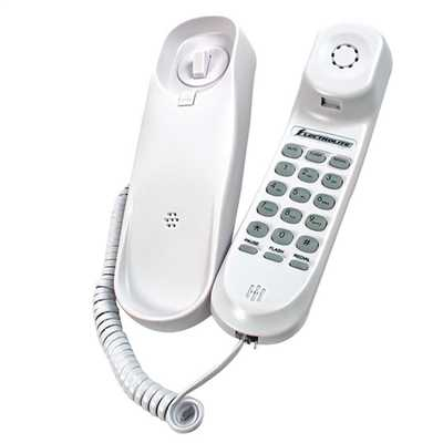 Slimline Corded Telephone Wall Mountable White