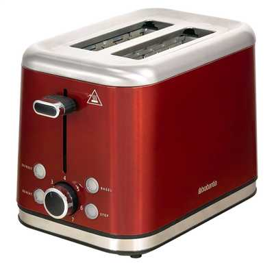 2 Slice Toaster Brushed Stainless Steel Red