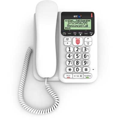 Decor 2600 Corded Telephone With Premium Call Blocking White
