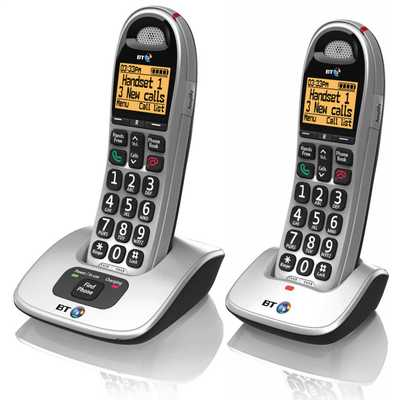 BT4000 Twin Dect Big Button Telephone Silver and Black