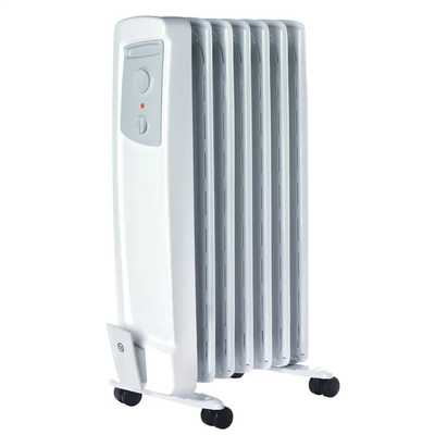 1.5kW Oil Filled Radiator 2 Heat Settings Thermostat White