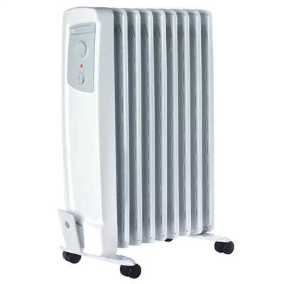 2kW Oil Filled Radiator with 2 Heat Settings Thermostat White