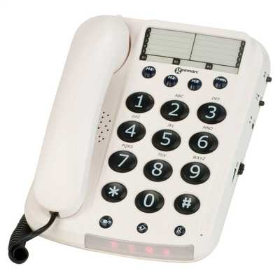 Big Button Corded Telephone White