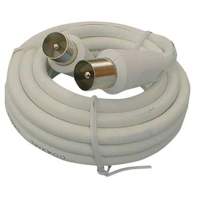 4m Plug to Socket Coaxial Lead White