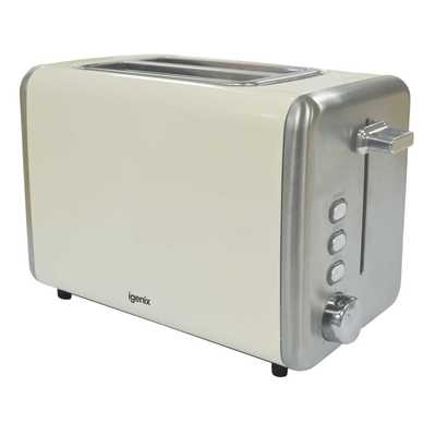 2 Slice Stainless Steel Toaster - Cream