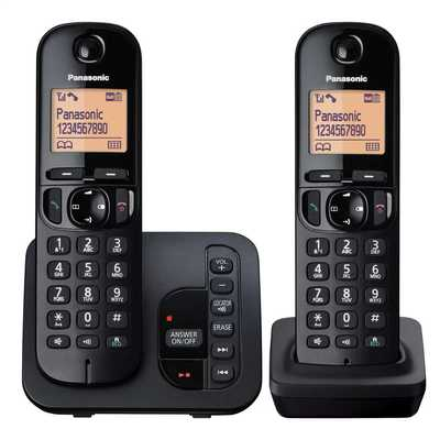 Twin Dect Call Block Telephone with Answer Machine Black