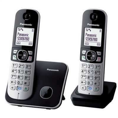 Twin Dect Cordless Telephone Eco Mode Black and Silver