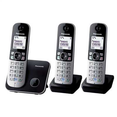 Trio Dect Cordless Telephone Eco Mode Black and Silver