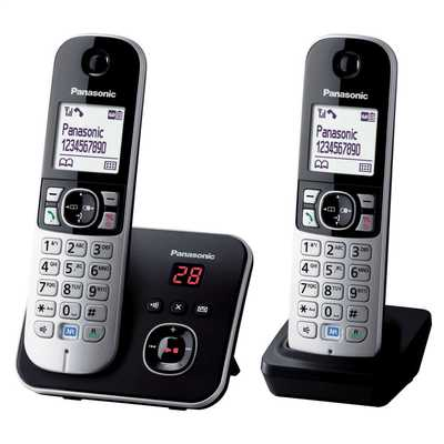 Twin Dect Telephone with Answer Machine Eco Mode Black and Silver
