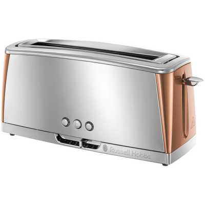Luna 2 Slice Long Slot Toaster Stainless steel and copper