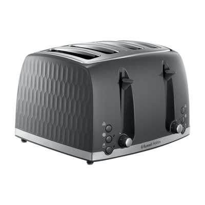 Honeycomb 4 slice Toaster Grey